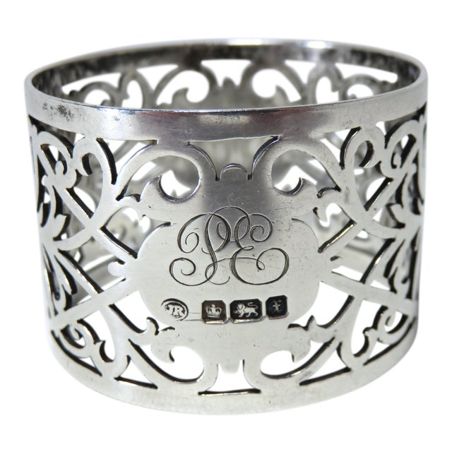 Early 20th Century Antique John Round Sterling Silver Napkin Ring For Sale