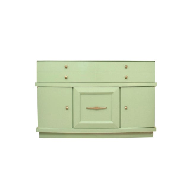 1950's Mid Century Modern Basic-Witz Green China Cabinet For Sale