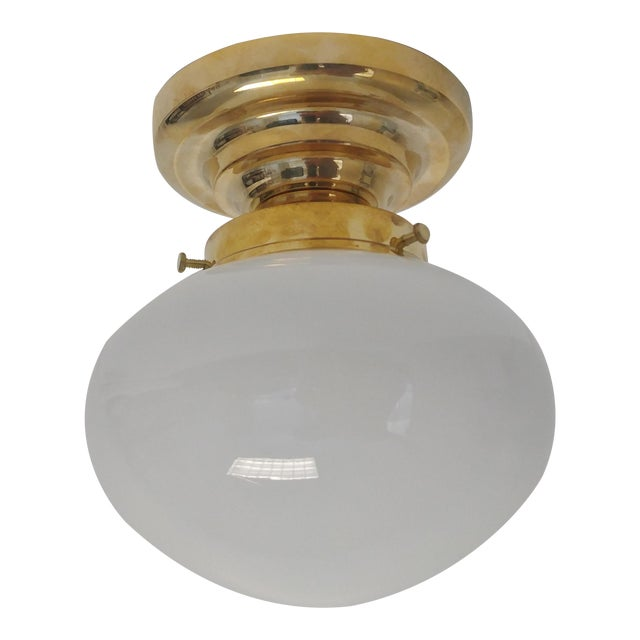 Urban Archaeology Yacht Light in Unlacquered Polished Brass and Opal White Glass For Sale