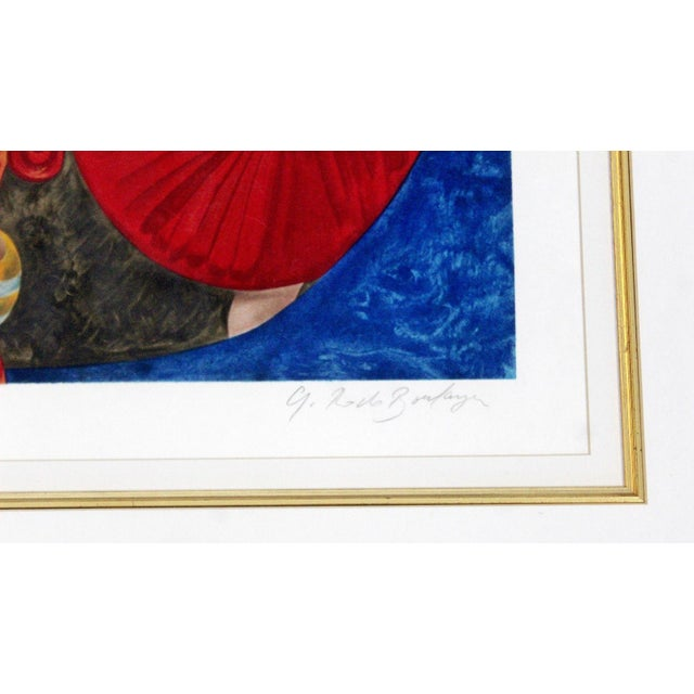 Late 20th Century Mid-Century Modern Gold Gilt Framed Lithograph Signed by Graciela Boulanger For Sale - Image 5 of 7