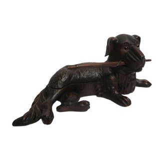 Vintage Carved Wood Dog Inkwell