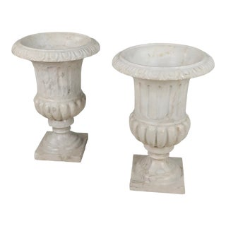 Antique Italian Carved White Marble Urns - a Pair For Sale