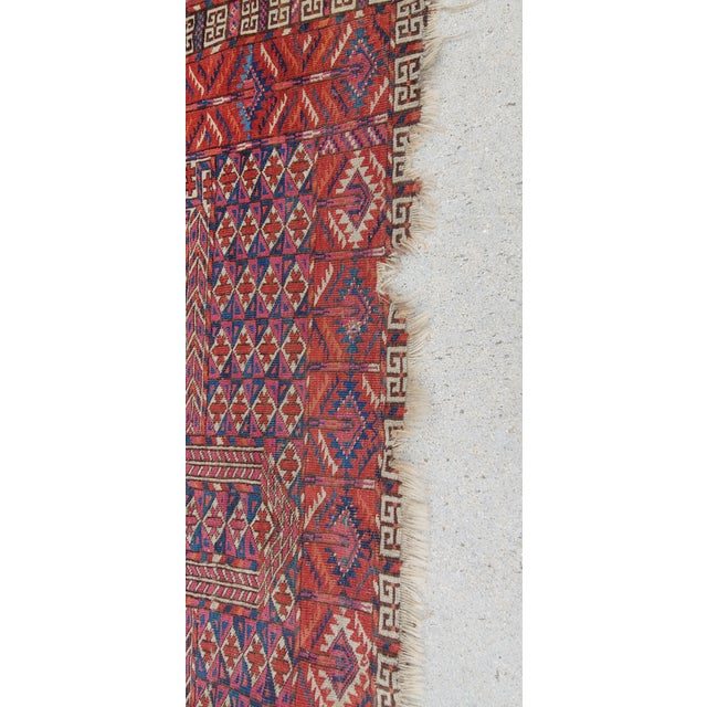 "Blue Vintage Turkoman Tekke Rug-3'11'x5"" For Sale - Image 8 of 12"