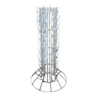 1960s French Iron Bottle Dryer Rack Stand With 184 Rods For Sale
