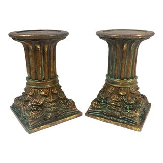 Pair of Greek Vintage Column Candle Pillars Candle Holders For Sale