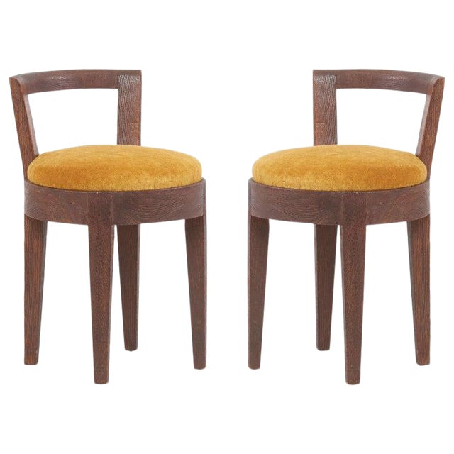 One of Two Pairs Art Deco Stools by Francisque Chaleyssin, France For Sale