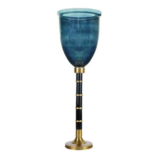 "Elizabeth Hurricane Walnut Polished Gold base with Glass Globe 9"", Cerulean For Sale"