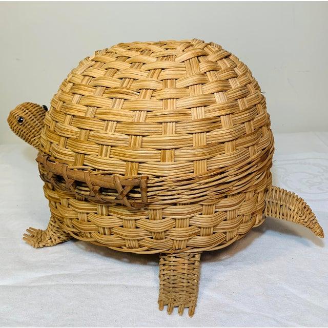 Tan Mid Century Modern Wicker Turtle Storage Box For Sale - Image 8 of 10