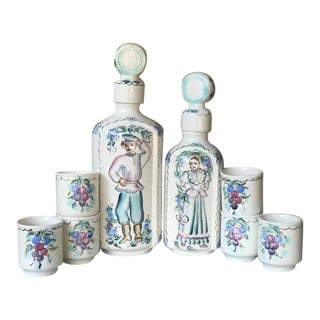 Vintage Hand Painted European Ceramic Decanter Set With Six Cups For Sale