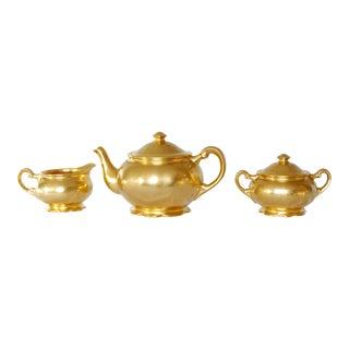 1950s Vintage 22k Gold Hand Painted Teapot Set - 3 Pieces For Sale