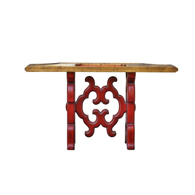 Chinoiserie Red Console Table - Image 3 of 6