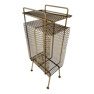 Mid-Century Modern Perforated Atomic Metal Magazine Holder For Sale