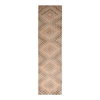 Vintage Mid Century Beige and Pink Wool Rug With Diamond Pattern For Sale