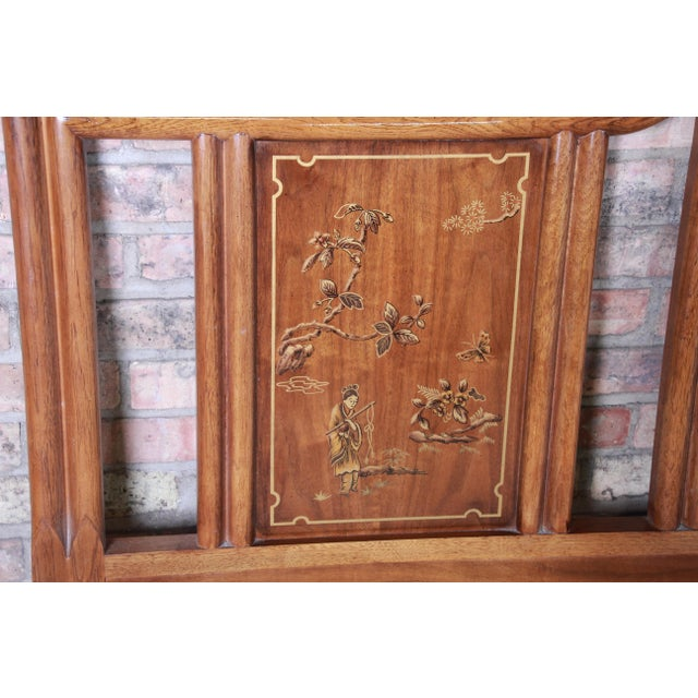 1970s Drexel Heritage Hollywood Regency Chinoiserie King Size Headboard For Sale - Image 5 of 10