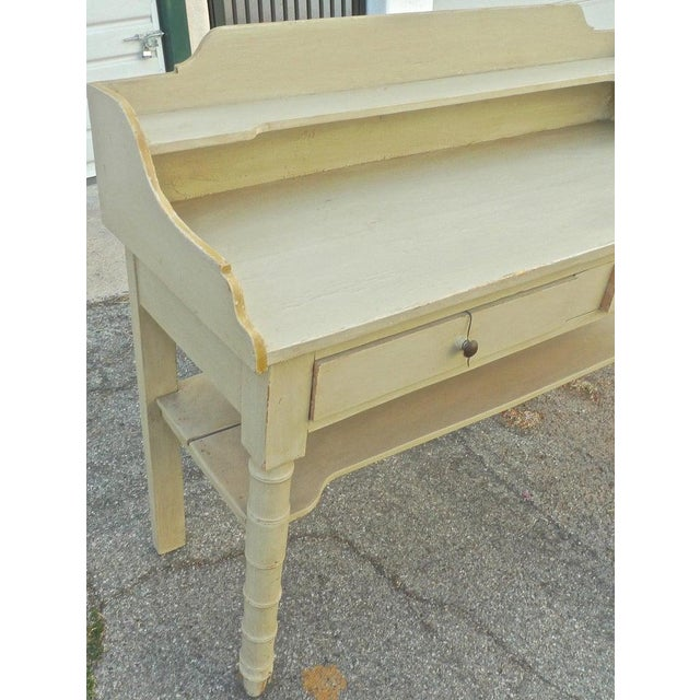 19th Century French Painted Server or Vanity With Two Drawers and Two Shelves For Sale - Image 4 of 12