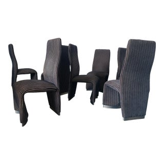 Set of 8 Postmodern Velvet Upholstered Dining Chairs For Sale