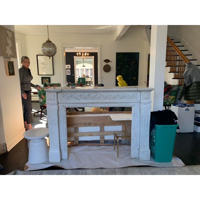 White 1900s Marble Fireplace Mantel For Sale - Image 8 of 12