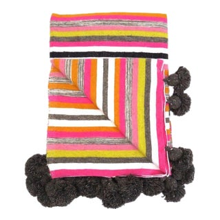 Striped Moroccan Wool Pom Pom Blanket For Sale