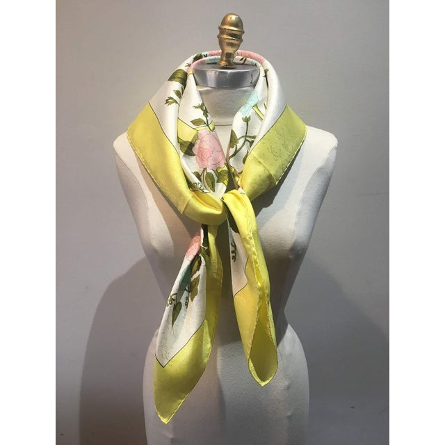 Hermes Vintage Romantique Silk Scarf in Yellow C1970s For Sale In New York - Image 6 of 7