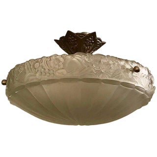 French Art Deco Floral Frosted Glass Semi Flush Mount Chandelier For Sale