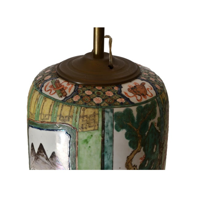 Signed Hand-Painted Chinese Porcelain Table Lamp with Original Shade For Sale - Image 4 of 9
