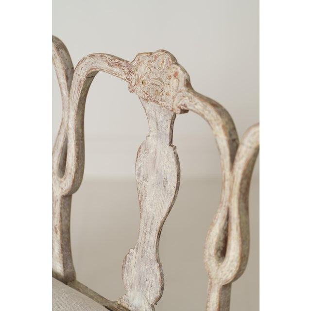 18th Century Swedish Rococo Period Settee or Bench in Original Paint For Sale - Image 4 of 12