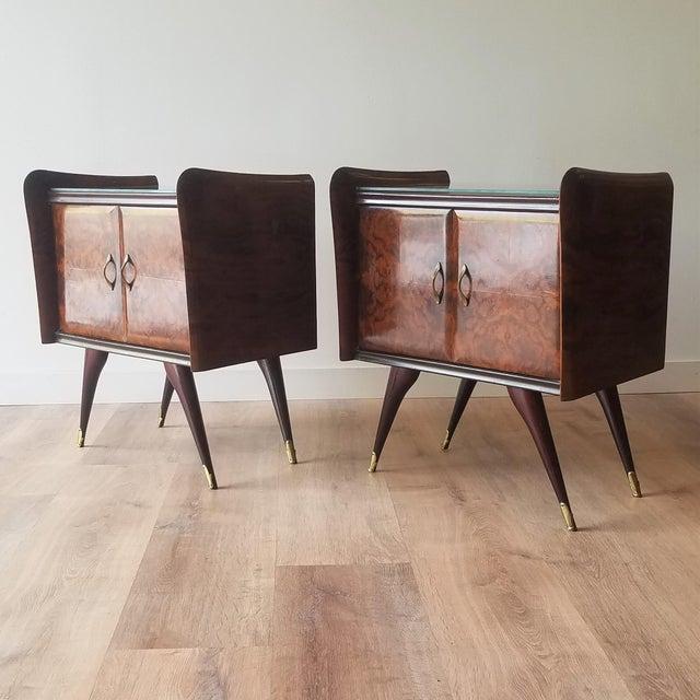 Italian Mid-Century Modern Burl Walnut Nightstands - a Pair For Sale - Image 13 of 13