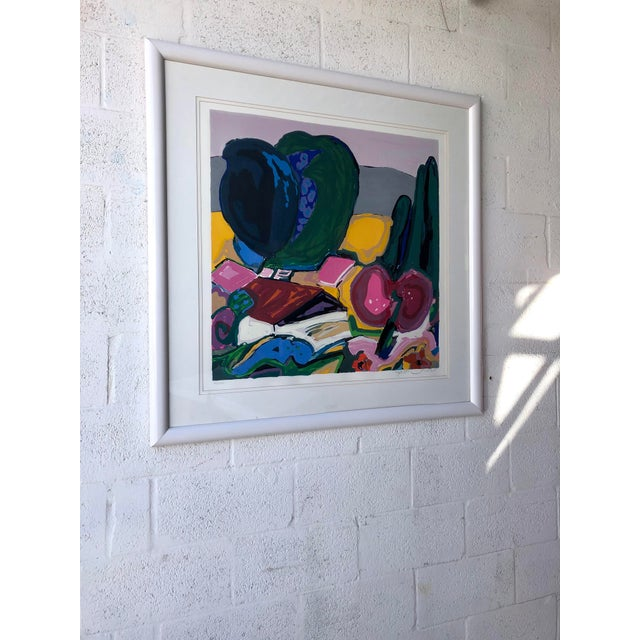 Abstract Large Vintage Original Lithograph Numbered and Signed by the Artist. For Sale - Image 3 of 12