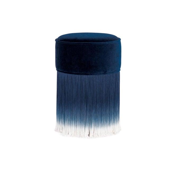 2020s Blue Velvet Pouf With Fringe Moooi For Sale - Image 5 of 5