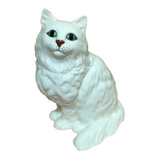 20th Century Traditional Beswick Porcelain Seated White Persian Cat