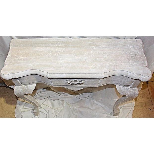 Queen Anne Faux-Painted White Wall Console Table For Sale - Image 5 of 7