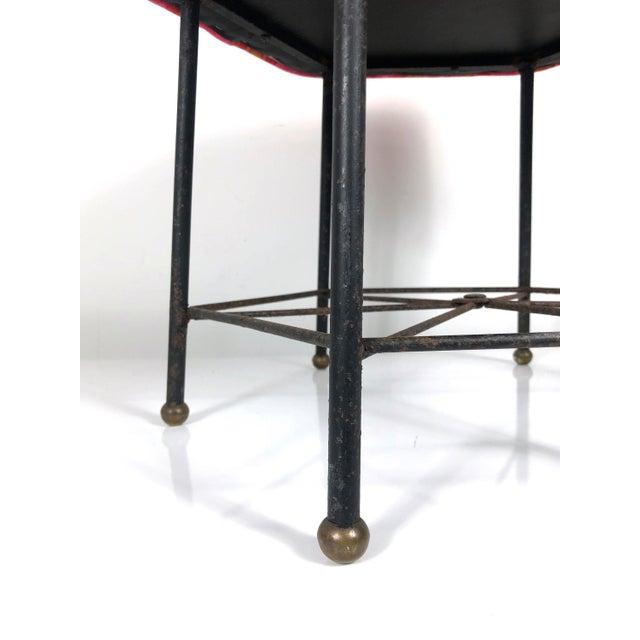 1950s Vintage 1950's Modernist Pink and Orange Velvet Iron Footstool / Ottoman For Sale - Image 5 of 9