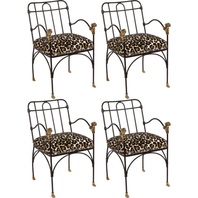 Fabric Set of Four Iron and Bronze Dining Chairs After Giacometti For Sale - Image 7 of 7