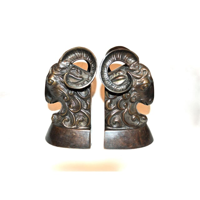 Vintage Bronze Ram Bookends - A Pair - Image 11 of 11