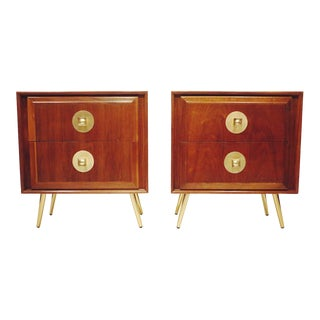 1960s American of Martinsville Walnut Nightstands-A Pair For Sale