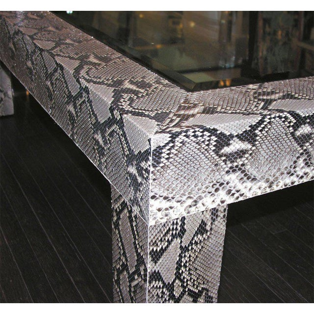 2000 - 2009 Python Cocktail Table with Inset Glass Top For Sale - Image 5 of 6