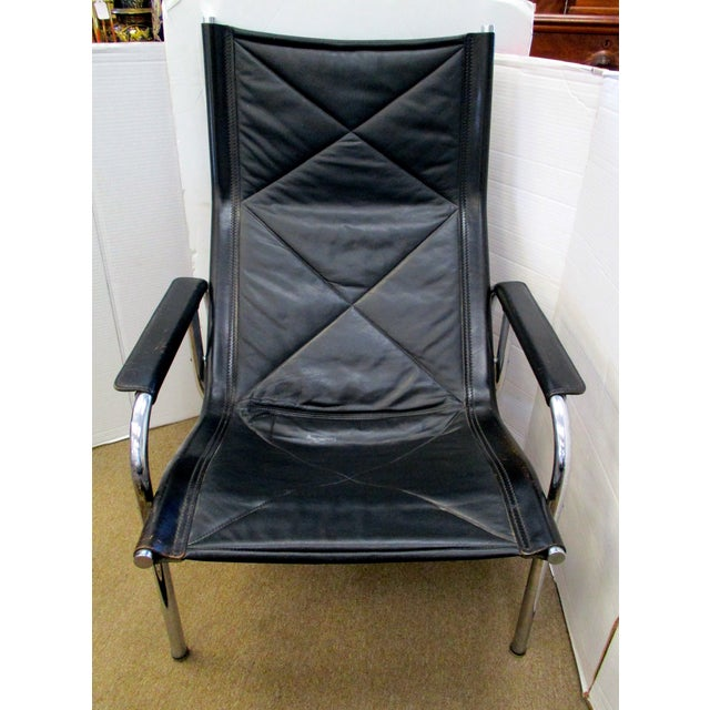 Black and Chrome Mid-Century Chair - Image 4 of 6