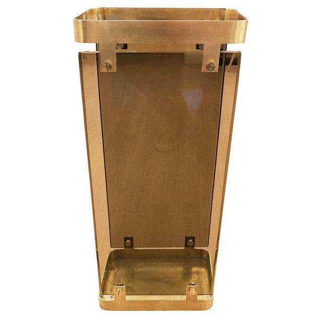 Hollywood Regency Fontana Arte Brass Umbrella Stand With Smoked Glass For Sale - Image 3 of 7