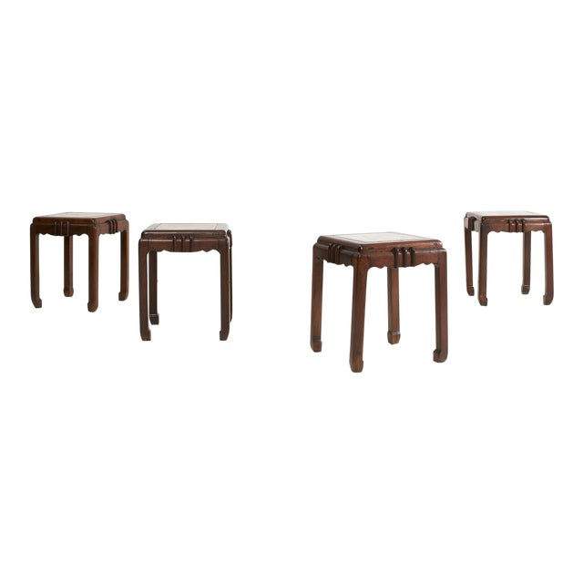 1930's Chinese Art Deco Rosewood (Hauli) Stools For Sale