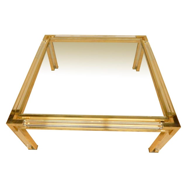 Gold Mid-Century Brass, Lucite, and Glass Square Coffee Table For Sale - Image 8 of 8