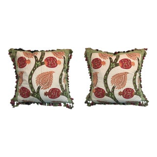 Schumacher Pomegranate Tree Fabric Pillows With Silk Border For Sale