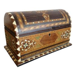 Antique Spanish Round Top Taracea Inlaid Box For Sale
