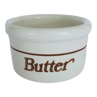 Vintage Brown and White Butter Low Round Ceramic Stoneware Crock For Sale
