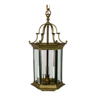Mid-Century Italian Pagoda-Esque Bronze & Beveled Glass Lantern For Sale