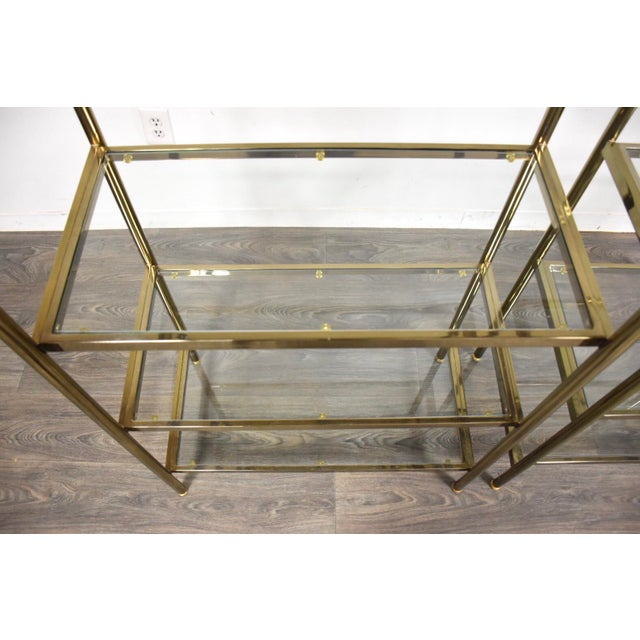 Hollywood Regency Style Brass Etageres- a Pair For Sale In Boston - Image 6 of 11