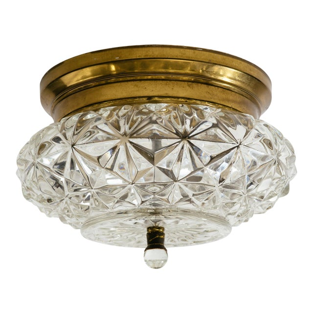 German Glass and Brass Flush Mount Chandeliers - a Pair For Sale