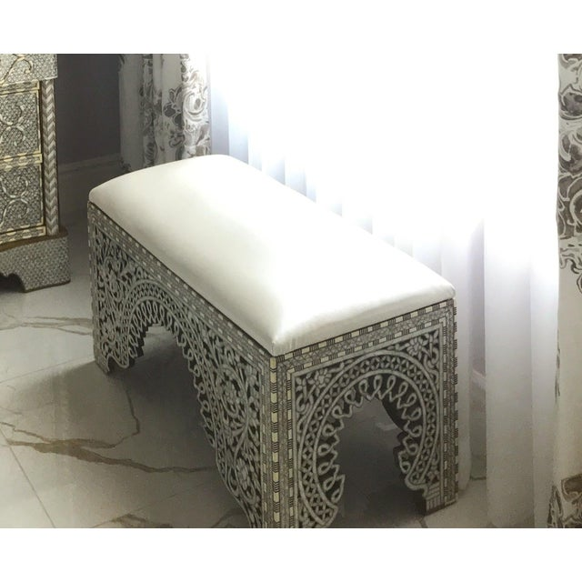 2010s Mother of Pearl Inlay Bench For Sale - Image 5 of 8
