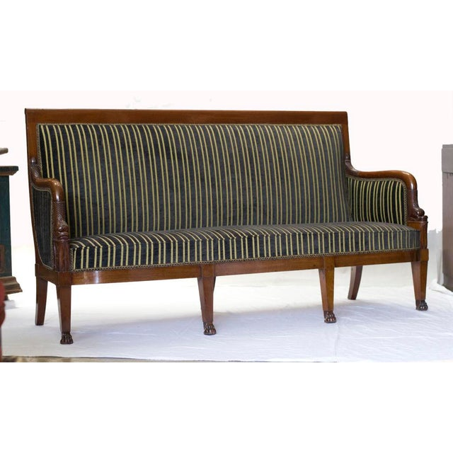 Empire 19th Century Empire Mahogany Settee For Sale - Image 3 of 4