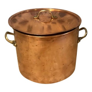 Antique French Lidded Copper Pot For Sale