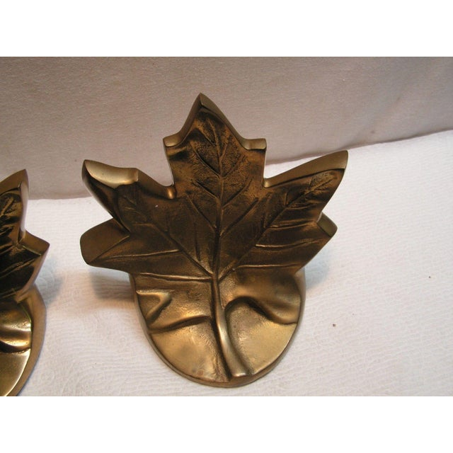 VINTAGE BRASS MAPLE LEAF BOOK ENDS DECORATIVE CRAFTS INC 4834 Hand Crafted Imports. Weighing 3 lbs 1oz+. Each one measures...